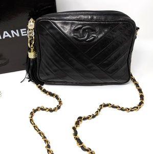 CHANEL Chevron Camera Bag Black Leather Auth
